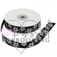 Decorative tape-5 m-soccer balls on black bottom