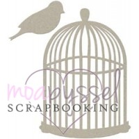 Lasercut-Fabscraps-bird cage with a bird