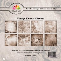 *Dixi Craft - Paper Pad - 15 x 15 - Vintage Flowers/Brown