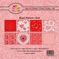 *Dixi Craft - Paper Pad - 15 x 15 - Heart Pattern/Red