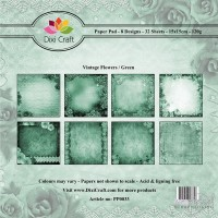 *Dixi Craft - Paper Pad - 15 x 15 - Vintage Flowers/Green