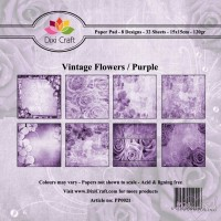 *Dixi Craft - Paper Pad - 15 x 15 - Vintage Flowers/Purple