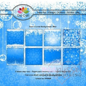 *Dixi Craft - Paper Pad - 15 x 15 - Snow Crystal Background - Blå