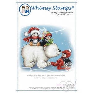 Whimsy stamps - Chrissy Armstrong - Penguin Warm Winter Wishes